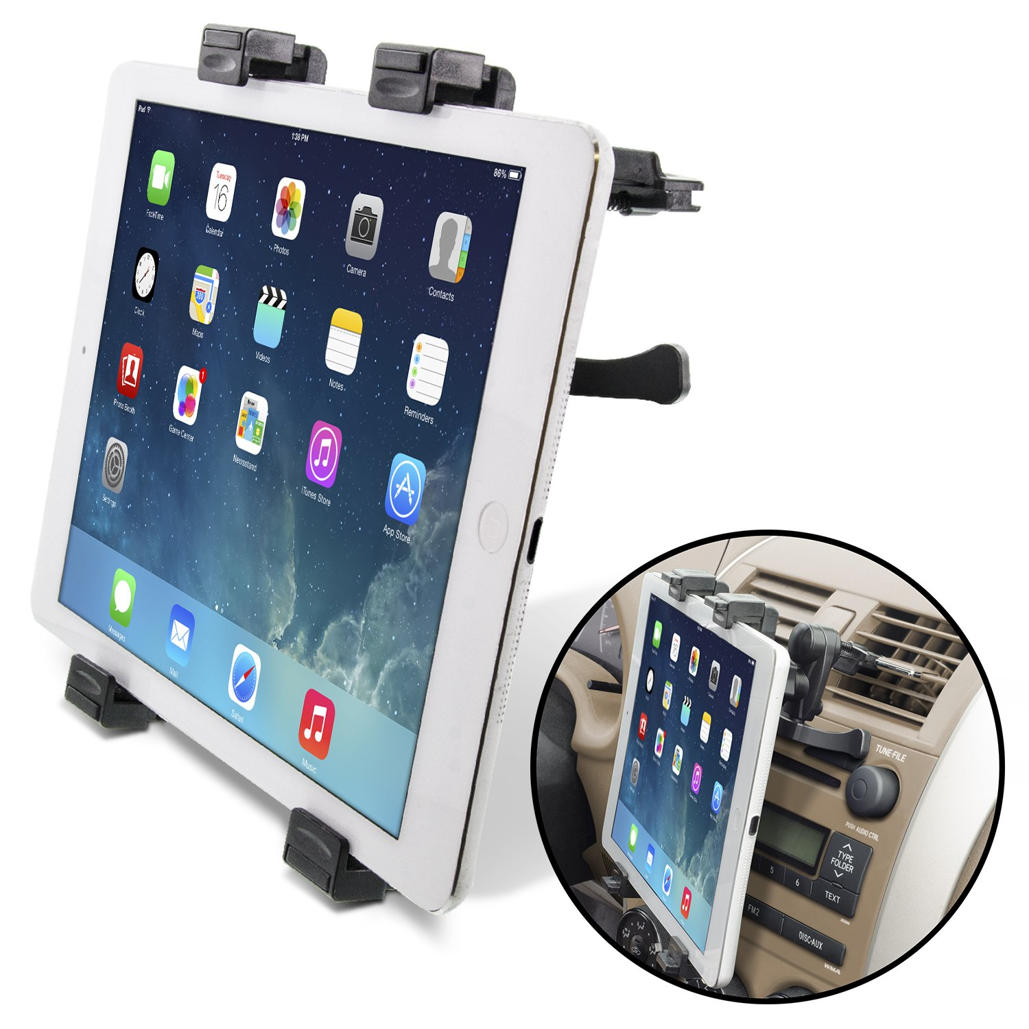 Okra Universal Tablet Air Vent Car Mount Holder with 360 Rotating swivel compatible w/Apple iPad, Samsung Galaxy Tab, and all Tablet Devices 5'' to 11'' (Retail Packaging)