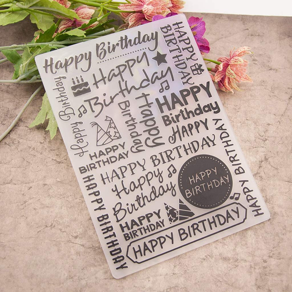 Ruierty Plastic Embossing Folder Template DIY Scrapbook Photo Album Card Making Decoration Crafts Happy Birthday