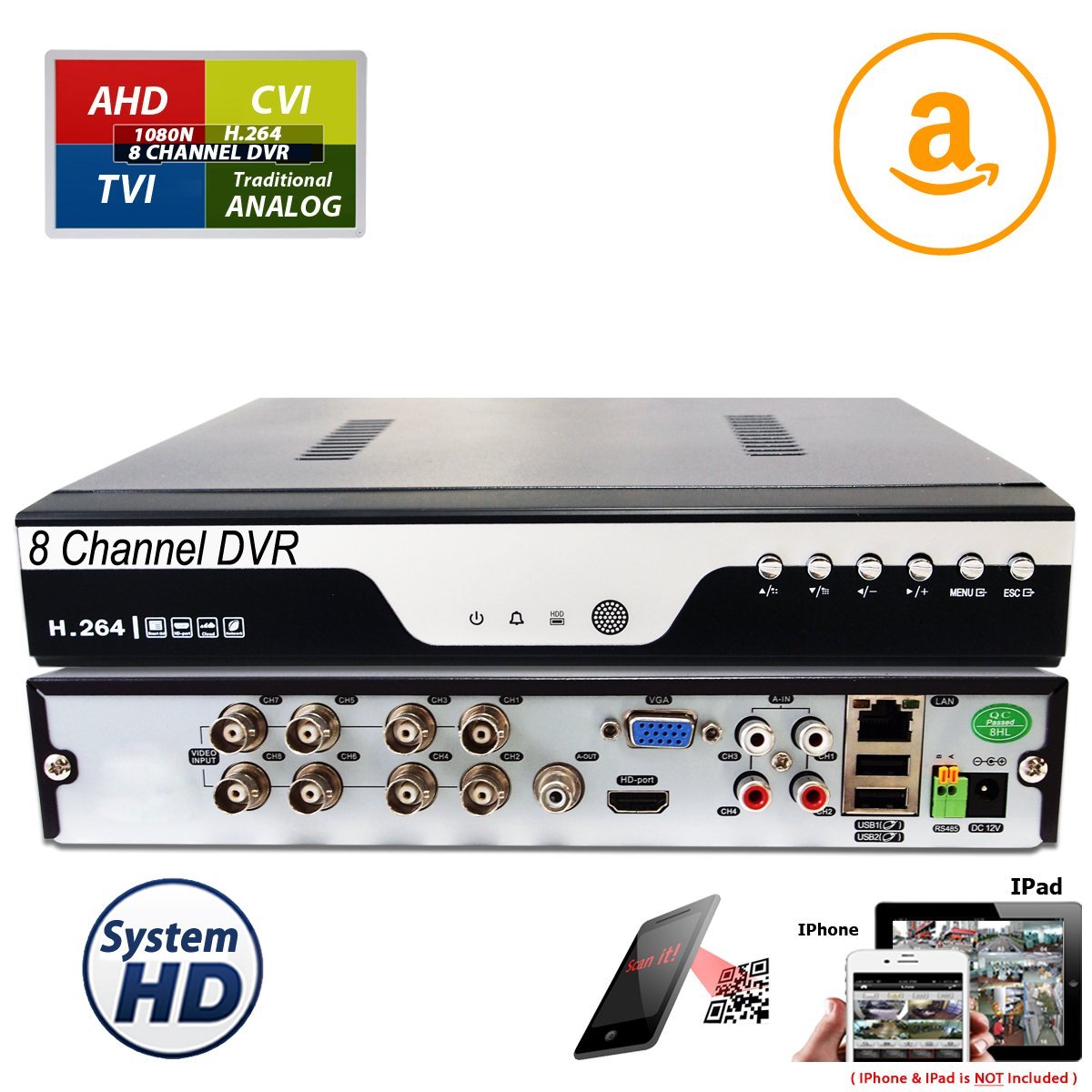 Evertech Standalone 8 Ch Channel Surveillance H.264 DVR Security system HDMI (No HDD for Recording)