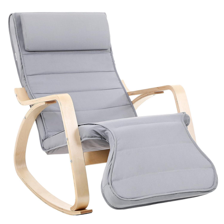 SONGMICS LYYY42G - Sedia a Dondolo Relax, Regolabile in 5 Posizioni, Portata 150 kg, Colore: Grigio LYY42G
