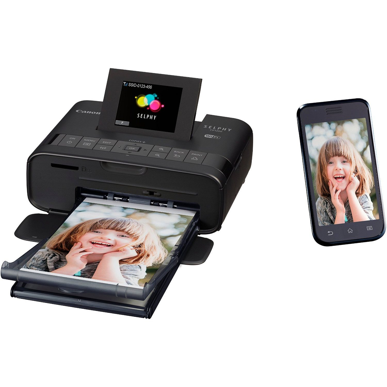 Canon Selphy CP1200 Wireless Color Photo Printer (Black) + USB Printer Cable + HeroFiber Ultra Gentle Cleaning Cloth by HeroFiber (Image #4)
