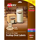 "Avery Print-to-Edge Kraft Brown Scalloped Labels, 2-1/4"" x 1-1/8"" Diameter, Pack of 525 Labels (22855)"