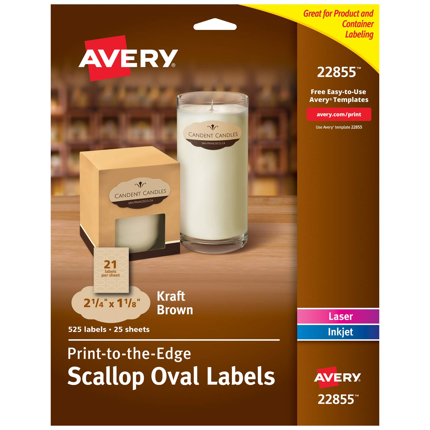 """Avery Scallop Oval Labels for Laser & Inkjet Printers, 2-1/4"""" x 1-1/8"""", 525 Kraft Brown Labels (22855)"""