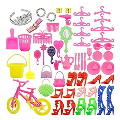 Heyuni.55 PCS Complete Doll Accessories Kit High Heels Rings Bags Bike Cellphone Clothing and Playing Accessories for Barbie Toys Children Girls Birthday Xmas Gift: Home Improvement