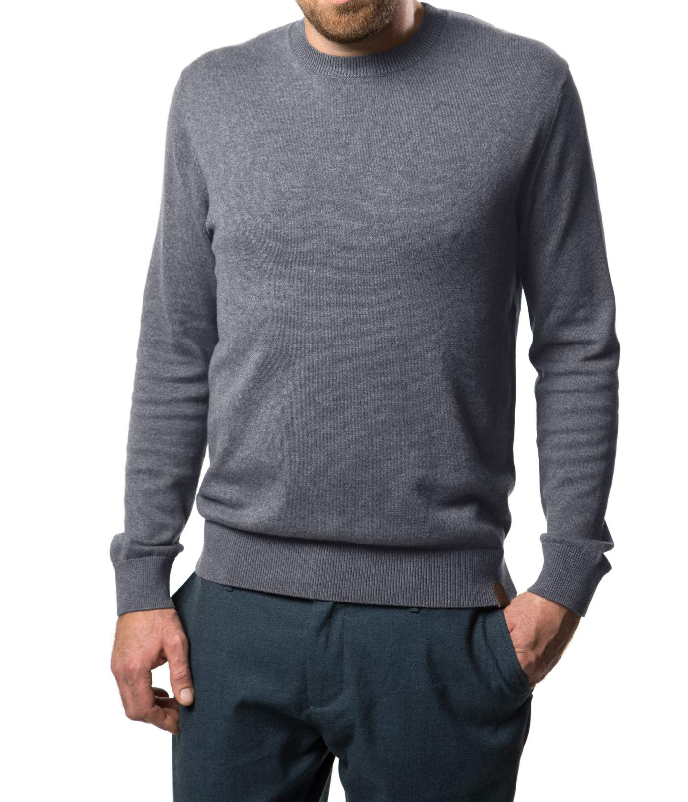 Mio Marino Cotton Sweaters For Men - Lightweight Crewneck Men's Pullover, Enclosed in an Elegant Gift Box - Charcoal Grey - Medium