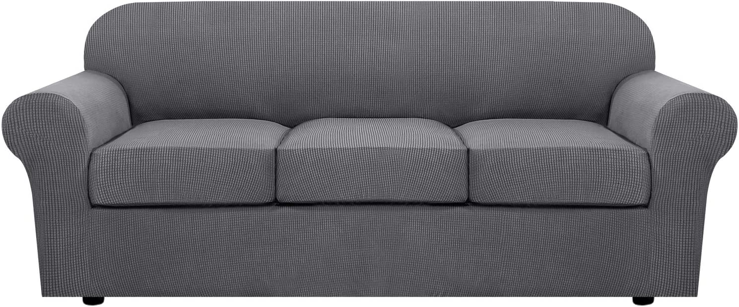 4 Piece Stretch Sofa Covers for 3 Cushion Couch Covers for Living Room Furniture Slipcovers (Base Cover Plus 3 Seat Cushion Covers) Feature Upgraded Thicker Jacquard Fabric (Sofa, Grey)