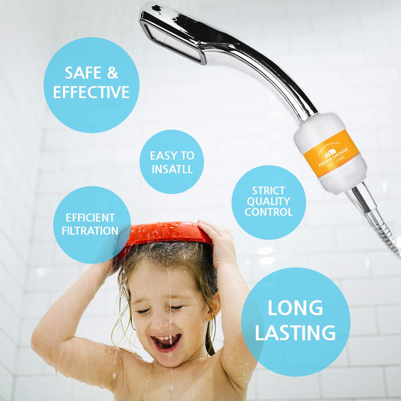caspa piel hidratante eczema reduce la piel seca picante elimina el cloro pelo y u/ñas multicolor impurezas y agua dura plomo Filtro de ducha Filtro de agua de ducha OKIEOKIE con vitamina