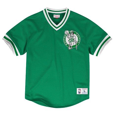 Amazon.com   Boston Celtics Mitchell   Ness NBA Men s Mesh V-neck Jersey  Shirt   Sports   Outdoors b2f7dd4b6