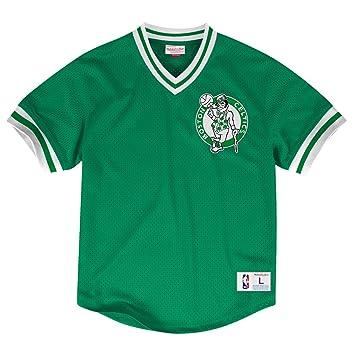 Mitchell & Ness Camiseta de malla de punto con cuello de pico de los Boston