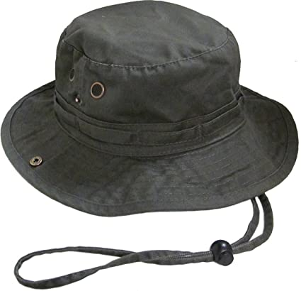 77c64760bd8 Image Unavailable. Image not available for. Color  Bucket Hat Boonie  Hunting Fishing Outdoor Cap Washed Cotton NEW W STRINGS ...