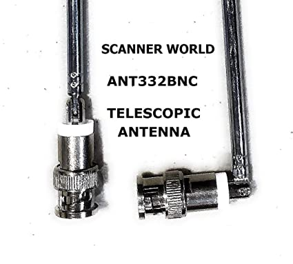 telescopic bnc male swivel antenna with metal connector for base or hand  portable radio scanners,