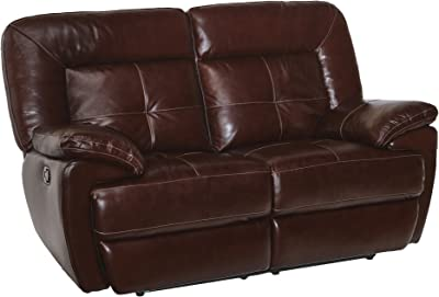 Common Home CH0015 Edwin Reclining Leather Loveseat, Mahogany