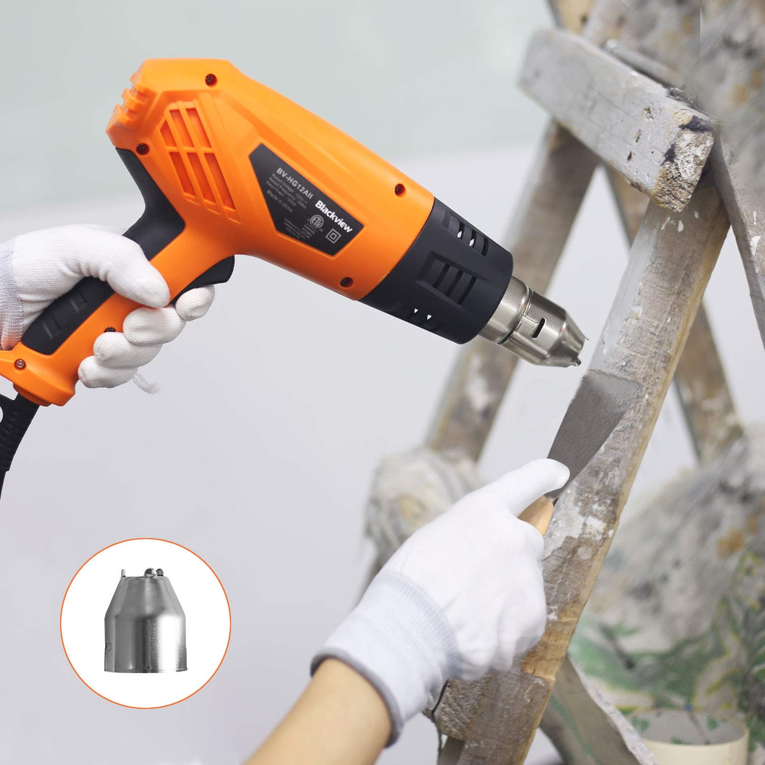 Blackview Heat Gun 1500W Heavy Duty Hot Air Gun with 2-Temp Settings 4 Nozzles 662℉~1022℉(350℃- 550℃)with Overload Protection for Crafts, Shrinking PVC, Stripping Paint, Bending Pipes, Lighting BBQ by Blackview (Image #6)
