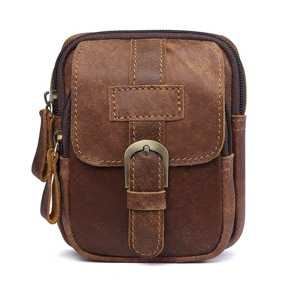 Waist Pack, Brown Leather Fanny Bag, Fmeida Belt Phone Holder for 4.7'' Phones by Fmeida