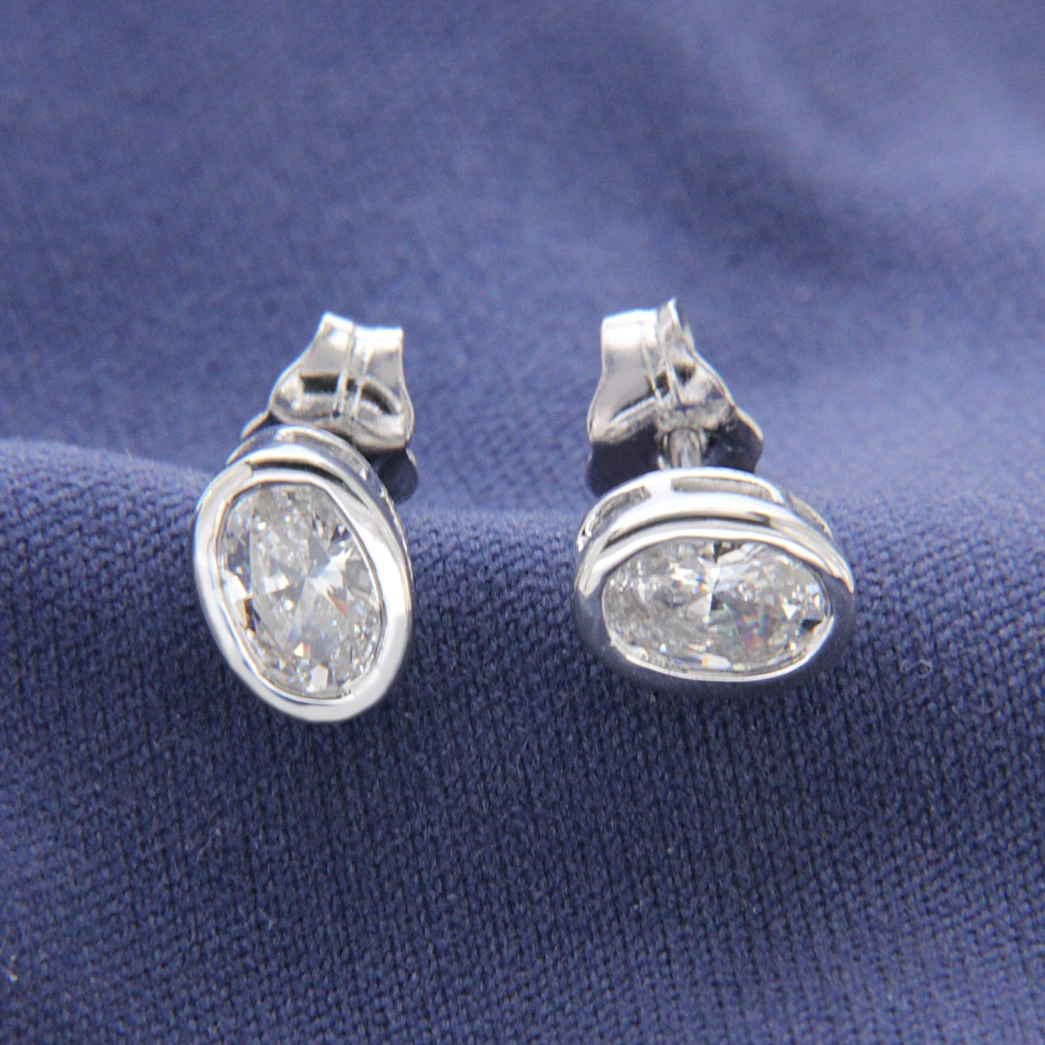 0.25 ct Oval Cut Simulated Diamond 14k White Gold Finish Solitaire Stud Earrings for Womens