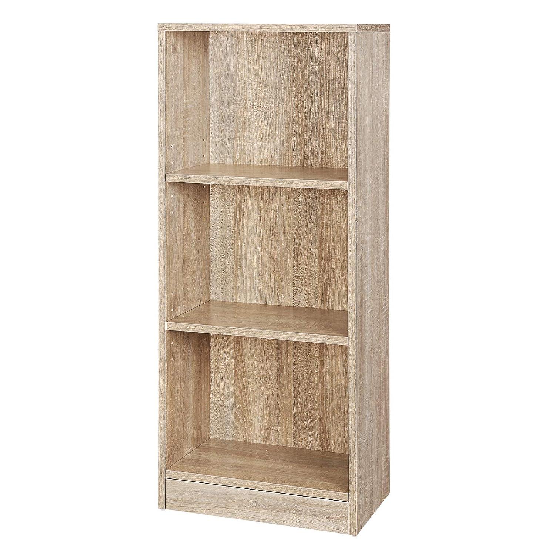 VASAGLE 3-Tier Wooden Bookcase with Adjustable Shelves, File Organiser Rack, 40 x 24 x 93 cm (W x D x H), Oak, LBC103H