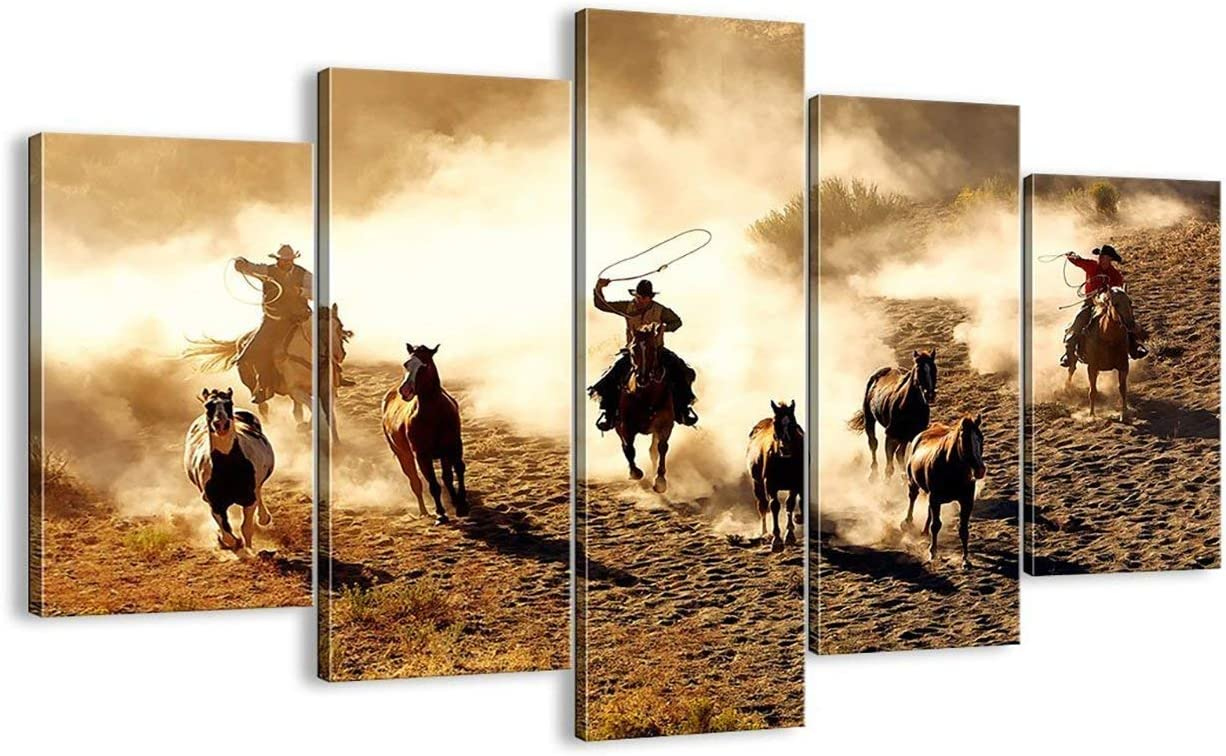 5 Piece Vintage Abstract Horses Running in the Desert Painting Retro Canvas Cowboy Wall Art Horse Prints Framed Ready to Hang Giclee Prints Fine Art for Home and Office Decoration (60''W x 40''H)