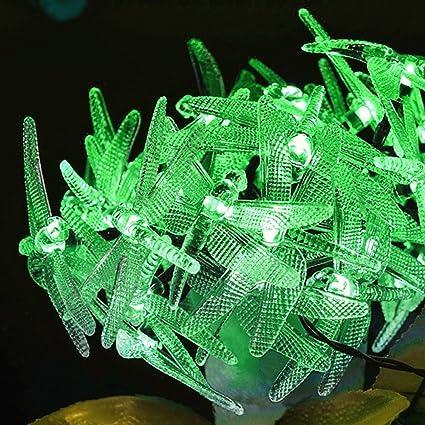 linangx libélula funciona con energía solar guirnalda de luz LED/cadena luz para uso en interiores/al aire libre jardín pérgolas ...