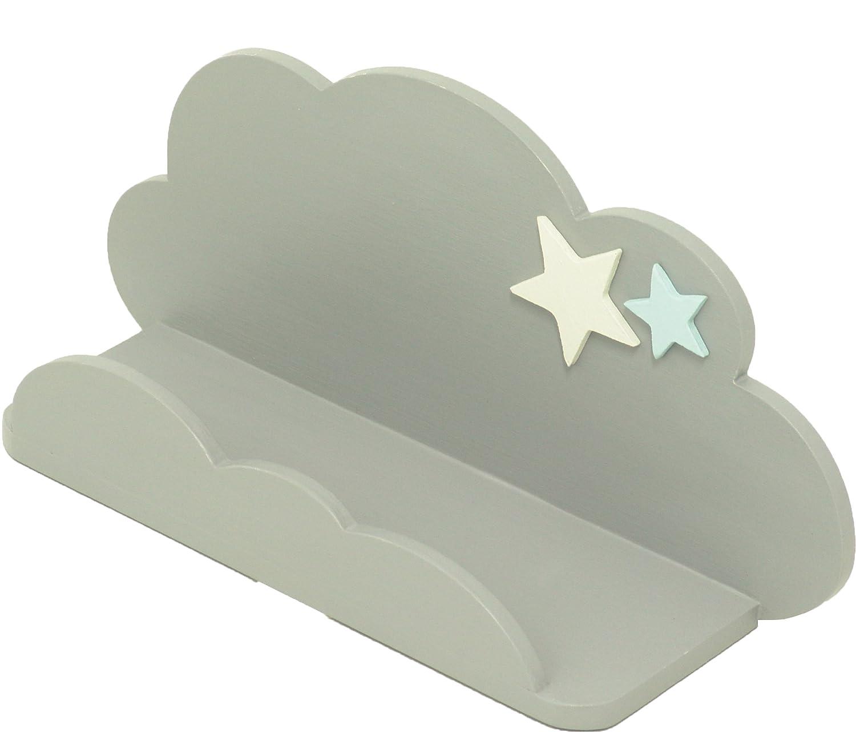 juguetes Sonp/ó Online Color gris con estrellas decorativas Hecho a mano de manera artesanal en madera accesorios Modelo AFA27 peluches Estante infantil con forma de nube de AFAEPS para colocar libros