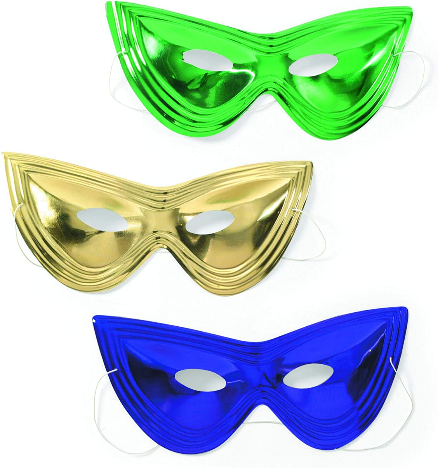 12 Gold Masquerade Masks Costume Wear Gifts Favors Fun Medieval Mardi Gras Party