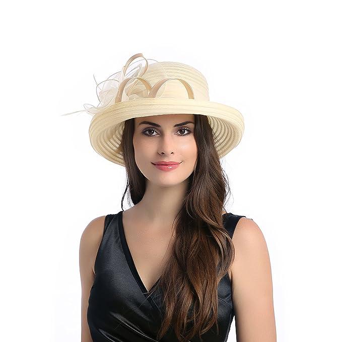 4f22f47f780f8 Dantiya Women s Organza Wide Brim Bowler Hat Kentucky Derby Church Dress  Sun Hat (Beige)