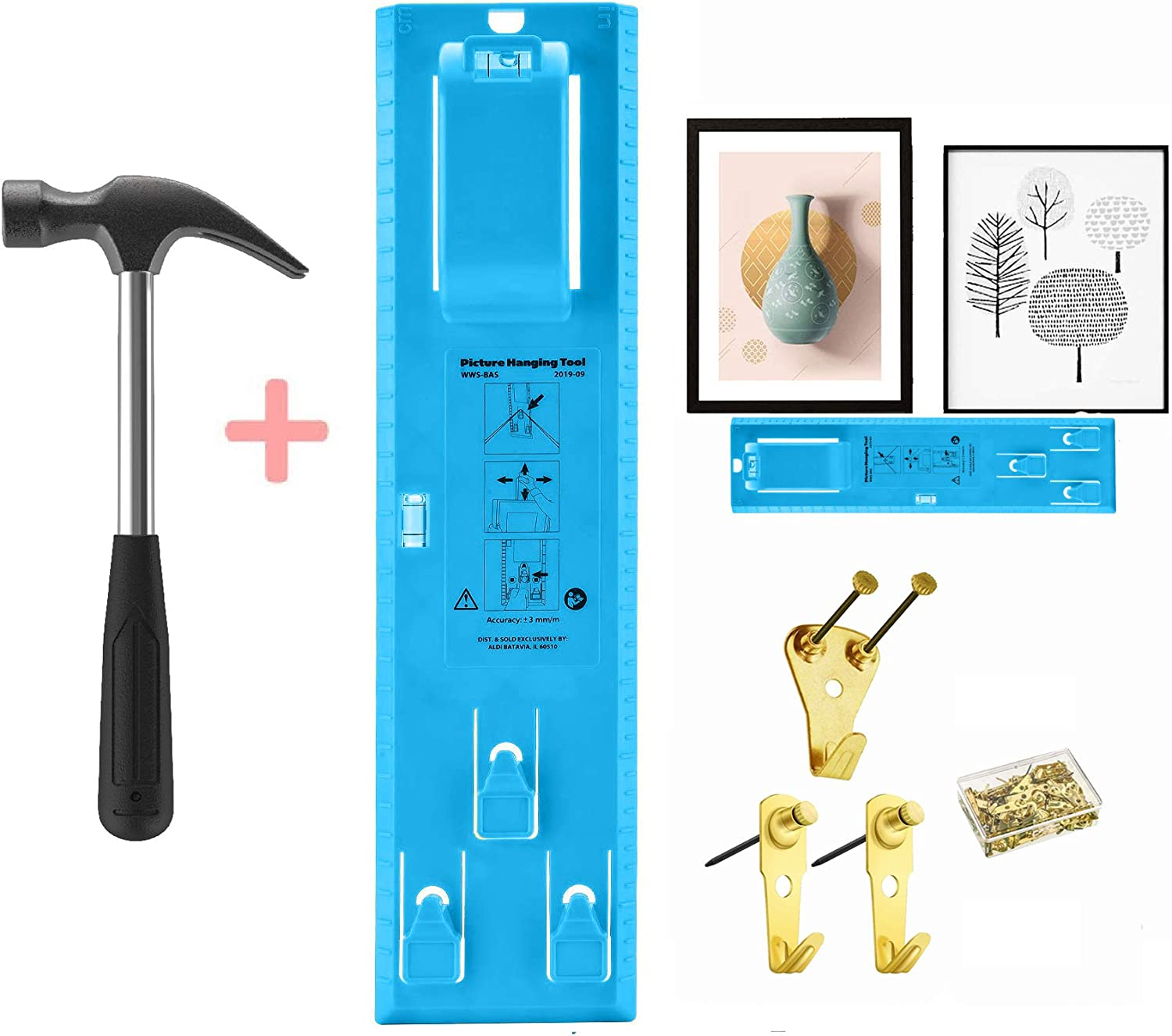 Picture Frame Hanger Hooks Easy Wall Hanging Tools Photo Hang Level Ruler