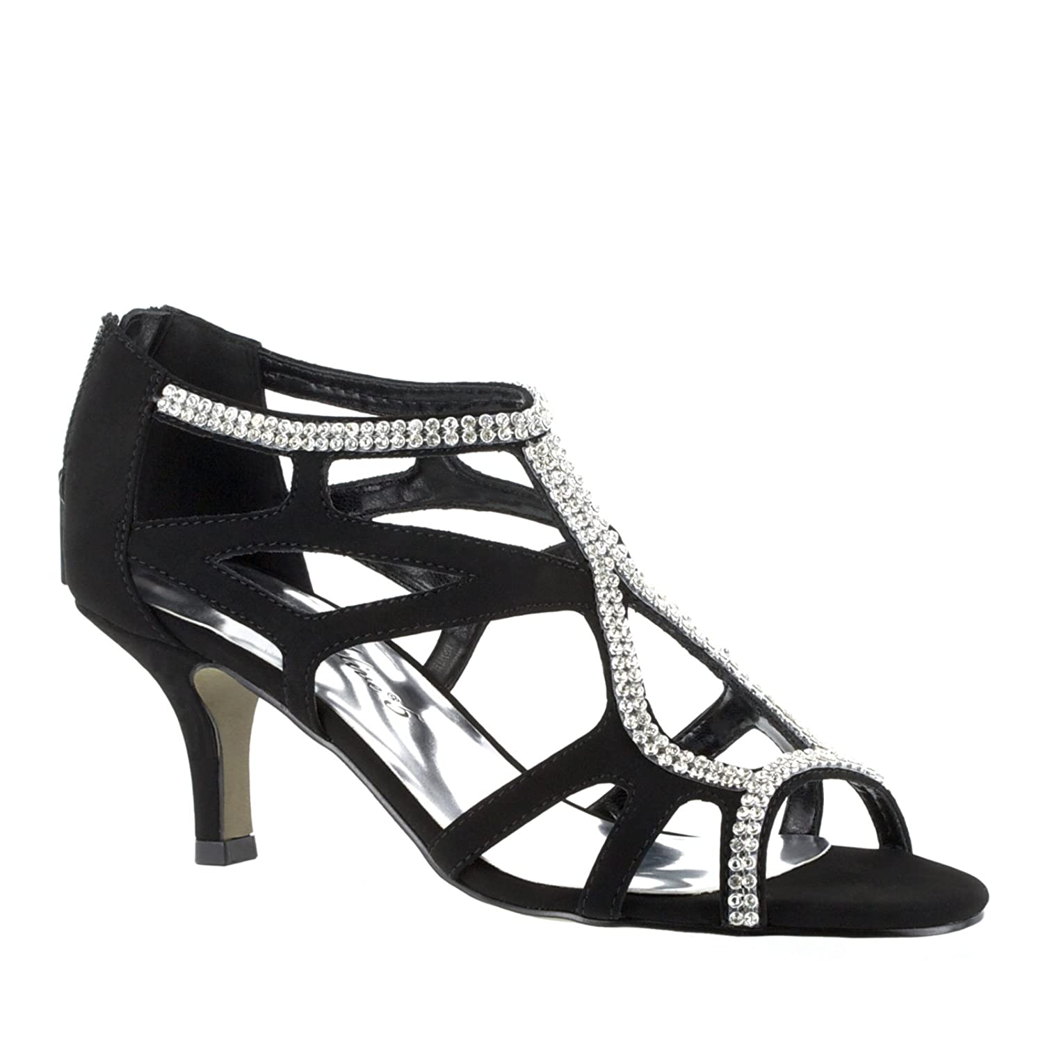 24a84a3f94559 Amazon.com | Easy Street Women's, Flattery dressy Evening Sandals BLACK 7 M  | Flats