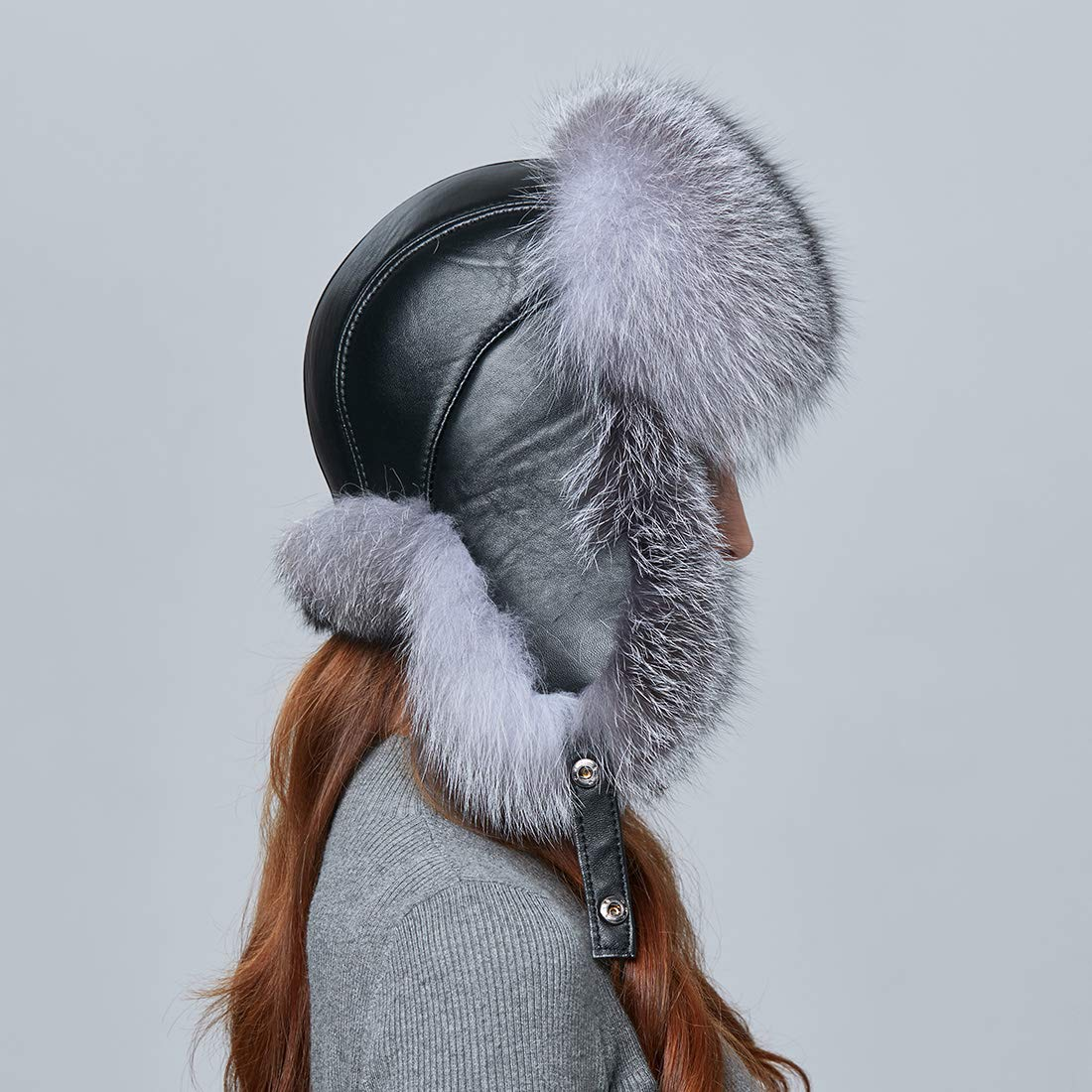 BeFur Fashion Women Winter Warm Fox Fur Lamb Leather Caps Bomber Hat Russian Protection Patchwork Causal Hat Caps by BeFur (Image #6)