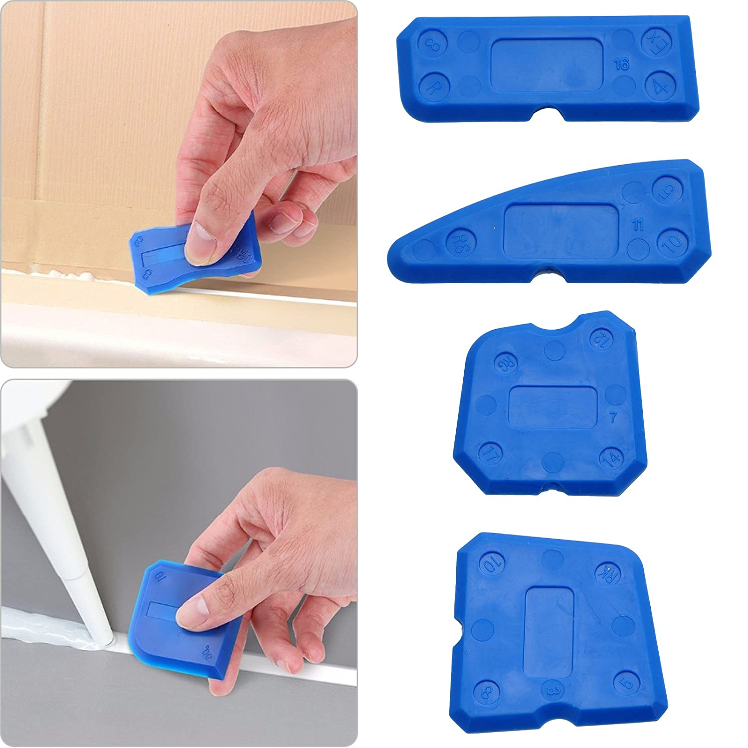 LinkStyle Doinshop Caulk Finishing Tool Kit Joint Sealant Plastic Grout Remover Scraper Recommended For Home Maintenance Blue