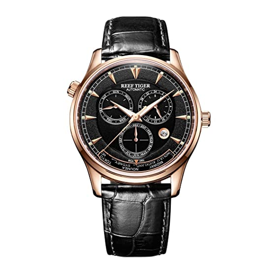 Reef Tiger Relojes para hombres del mundo Relojes analógicos automáticos Rose Gold con fecha Día RGA1951 (RGA1951-PBB1): Amazon.es: Relojes