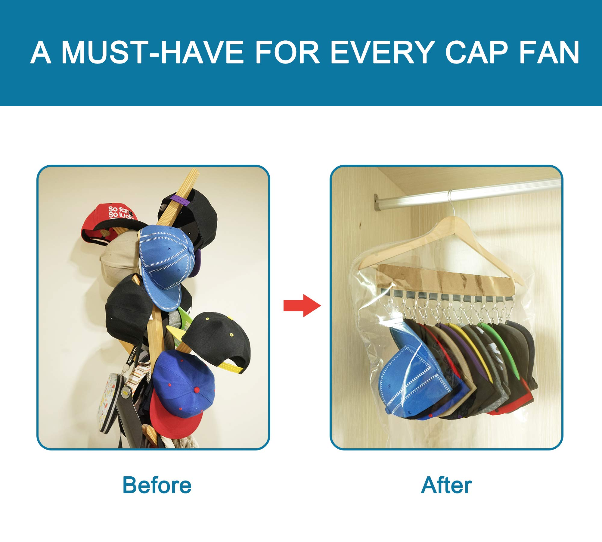 B.SHINE Hat Rack Cap Organizer - 12 Clips Hanging Baseball Caps Holder with Dust Cover