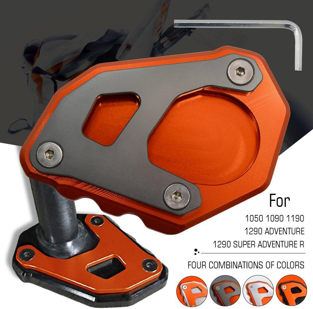 Motorrad Cnc Seitenständer Verbreiterung Ständer Seite Ständer Verlängerung Teller Pad Für Ktm 1050 1090 1190 1290 Adventure Adv 1290 Super Adventure R Orange Grau Auto