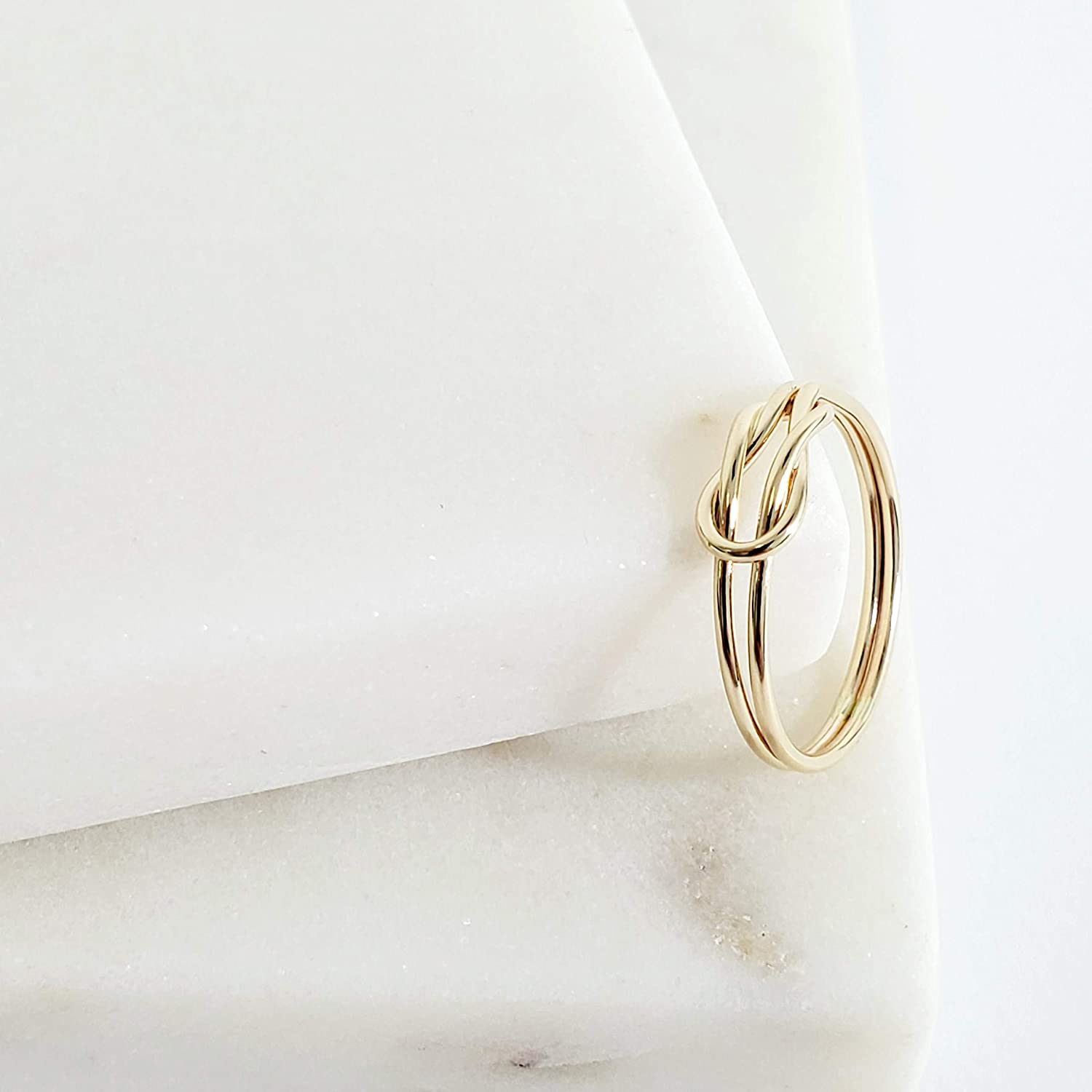 Gold Infinity Knot Ring- solid 14k gold knot ring hand tied delicate ring love knot infinity ring simple knot ring infinity knot