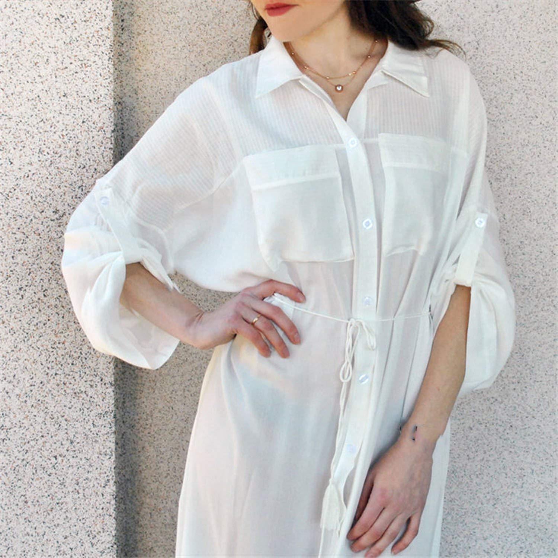 Summer Women Beachwear Cover-ups White Cotton Tunic Beach Dress Swim Suit Bikini