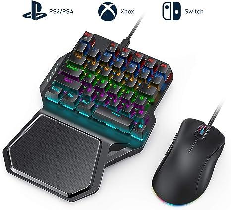 Vivefox - Adaptador de teclado y ratón mecánico para juegos con una sola mano para PS3, PS4, Nintendo Switch, Xbox One/Windows PC, soporte Call of Duty Modern Warfare Overwatch PUBG Fortnite COD: