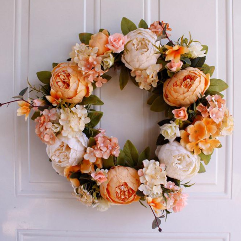 Wedding Door Wreath Summer Wreaths Front Door Wreaths,Peony Wreath Everyday Wreath,Farmhouse Wreath,Year Round Wreath