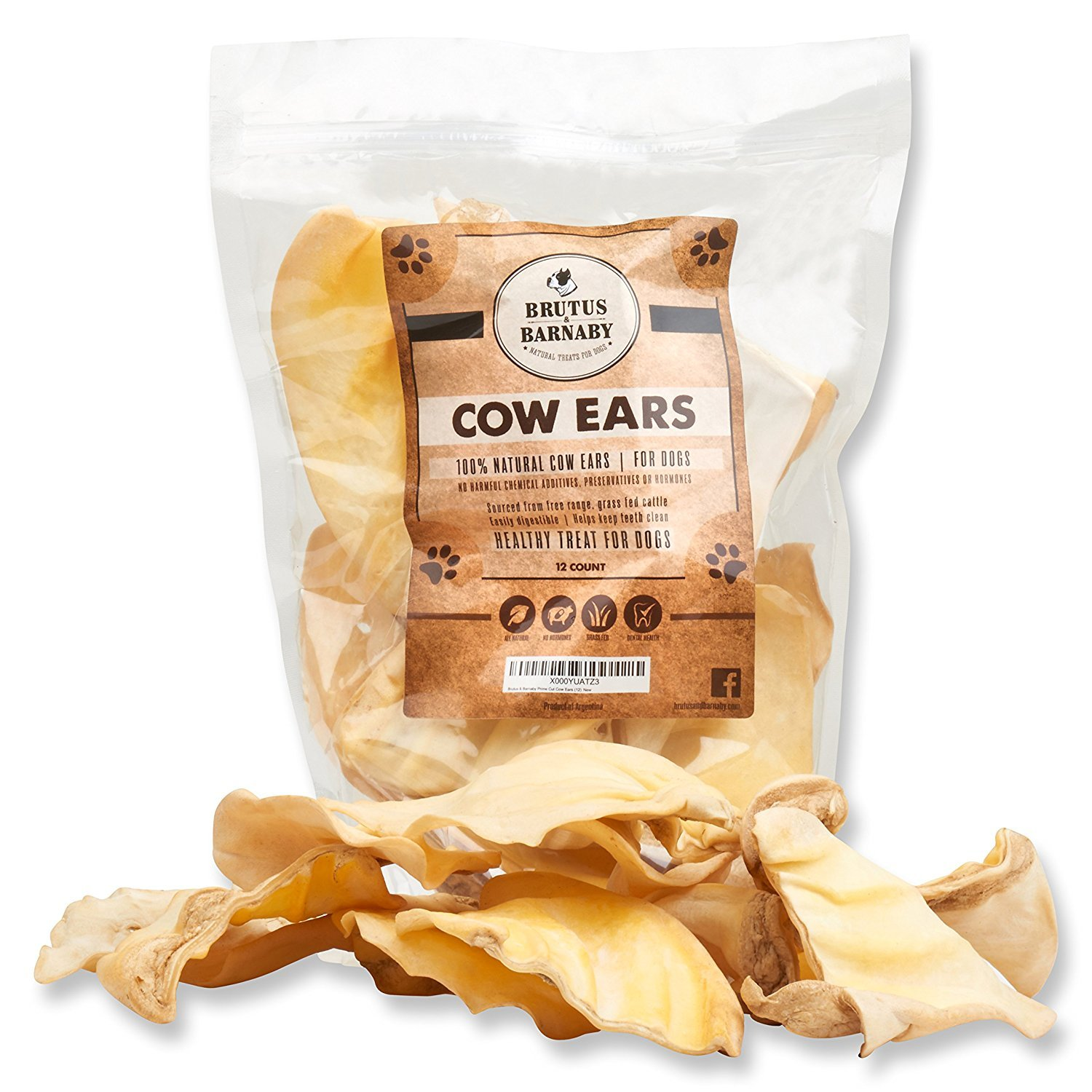 12 All Natural, Whole Cow Ears for Dogs by Brutus & Barnaby, Harvested from Free Range, No Hormone's Added, Grass Fed Cattle, USDA FDA Approved