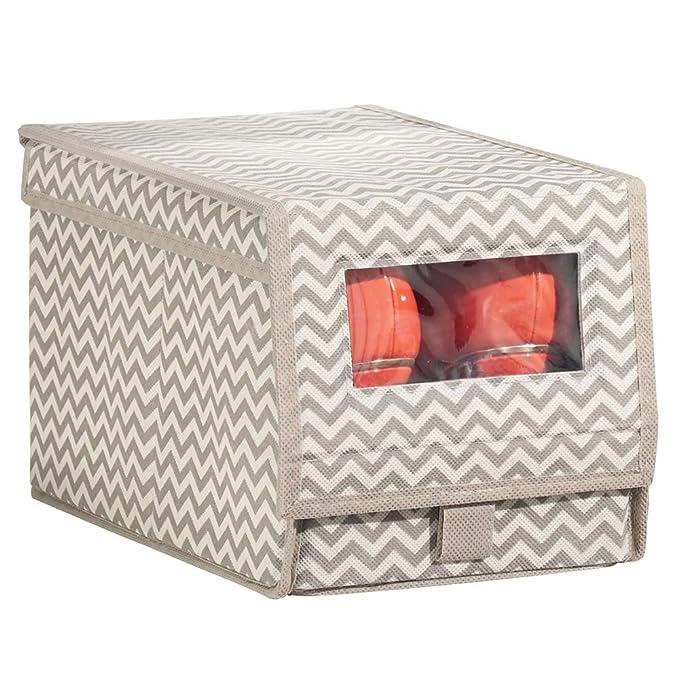 14fbaa6b86 cierre de velcro y tapa abatible – Prácticas cajas organizadoras para  armarios y estanterías – gris MetroDecor grande – Cajas apilables con  ventana mDesign ...
