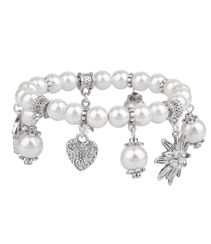 Charm Kleeblatt weißen Strasssteinen Glücksbringer Armbänder Armband Anhänger