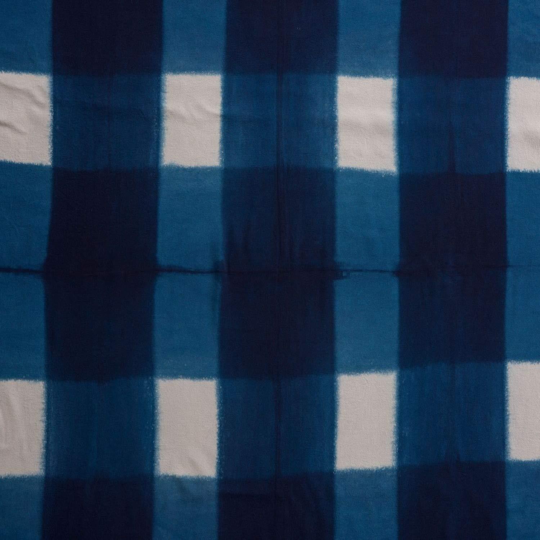 ナオミレーベル 本藍染めスカーフ ハンドメイド品(格子柄)   B07MBZXTPR
