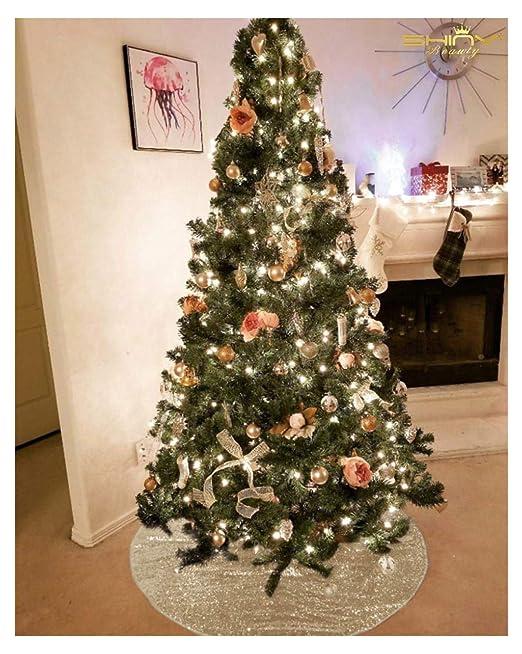 ShinyBeauty D104 Falda para árbol de Navidad, Color Dorado Claro ...