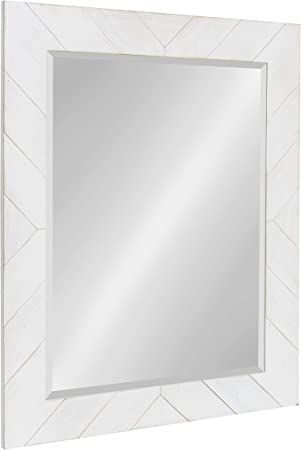 Amazon Com Designovation Rost Pieced Wood Framed Wall Accent Mirror 23 5x29 5 White Furniture Decor
