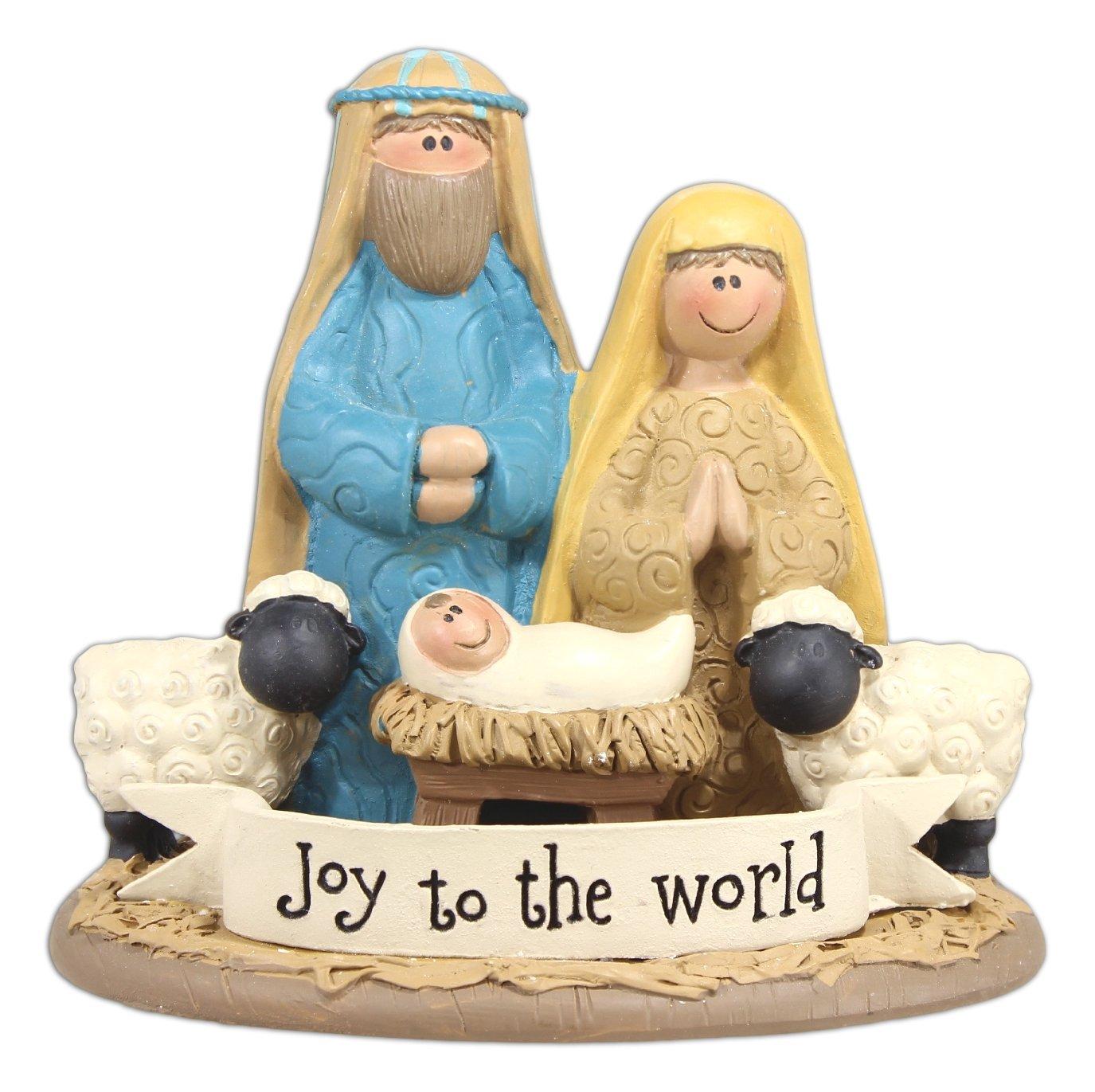 Blossom Bucket Joy to The World Nativity Christmas Decor, 3-1/2'' High