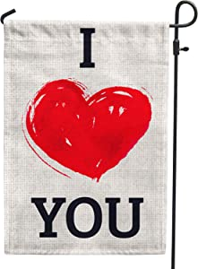 PAMBO Valentines Day Garden Flag Burlap 12x18 Double Sided I Love You Valentines Day Heart Garden Flags for Holiday Outside Ourdoor Yard Decoration