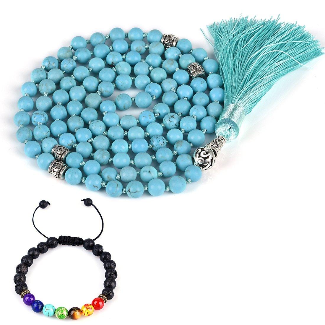 CAT EYE JEWELS 8mm Mala Beads Necklace Yoga Meditation 108 Hand Knotted Turquoise Japa Mala Buddhist Prayer Beads Tassel Necklace Healing Lava Rock Beads Diffuser Bracelet