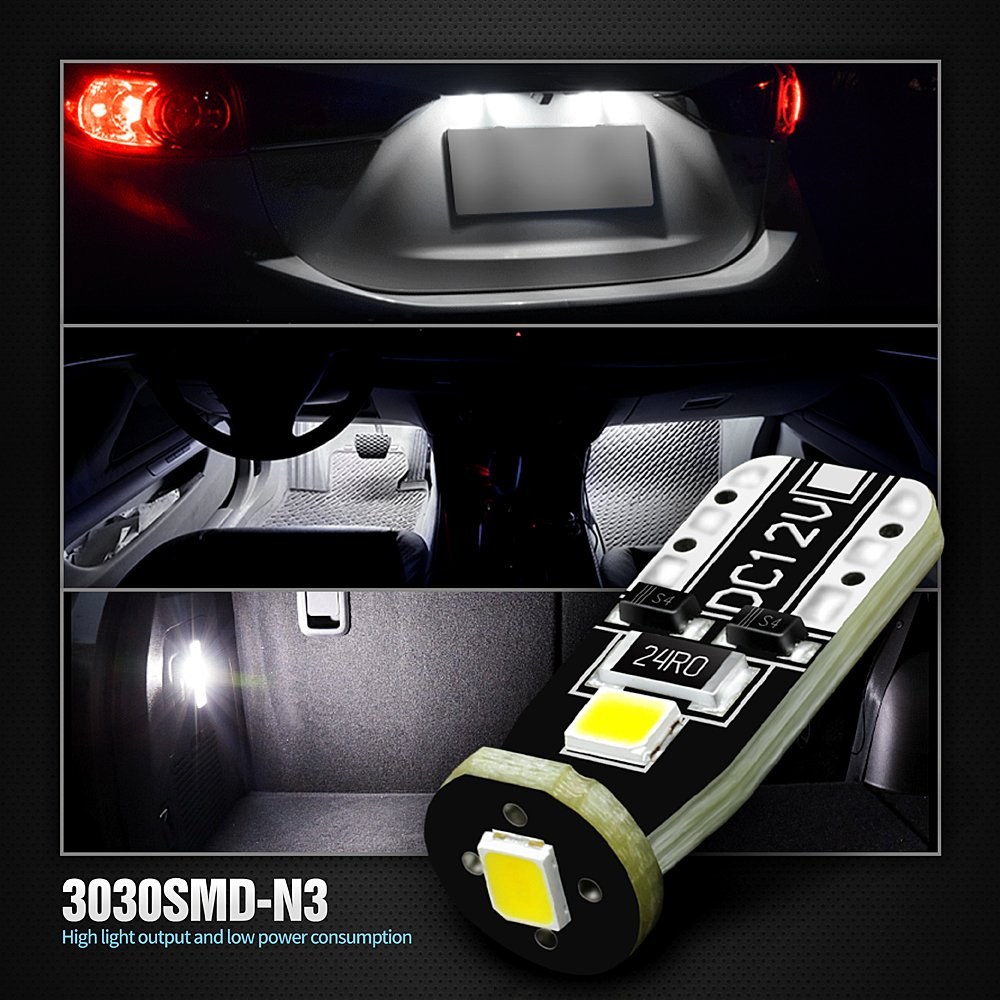 Extremely Bright 3030 Chipset LED Bulbs for Car Interior Dome Map Door Courtesy License Plate Lights Compact Wedge T10 168 194 2825 Xenon White Pack of 10
