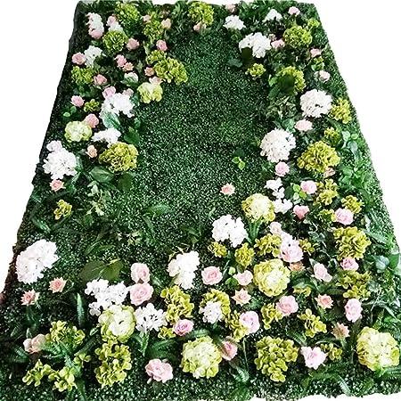 RKY Pared de Fondo - Flor de Pared Artificial Hortensia Flor de glicina Decoración de Hoja Verde