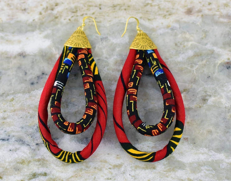 Ankara Earrings African Print Earrings African Earrings Dahlia Large Looped Earrings Hoop Earrings