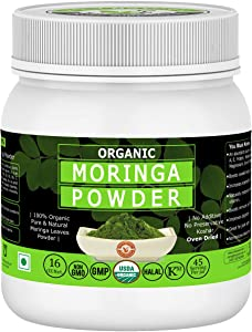 Organic Moringa Leaves Powder- 16 Oz, USDA Certified I 100% Pure & Natural, Have Excellent Source of Many Vitamins and Mineral I RAW, Greenish Like Leaves, NO Preservative, Non GMO