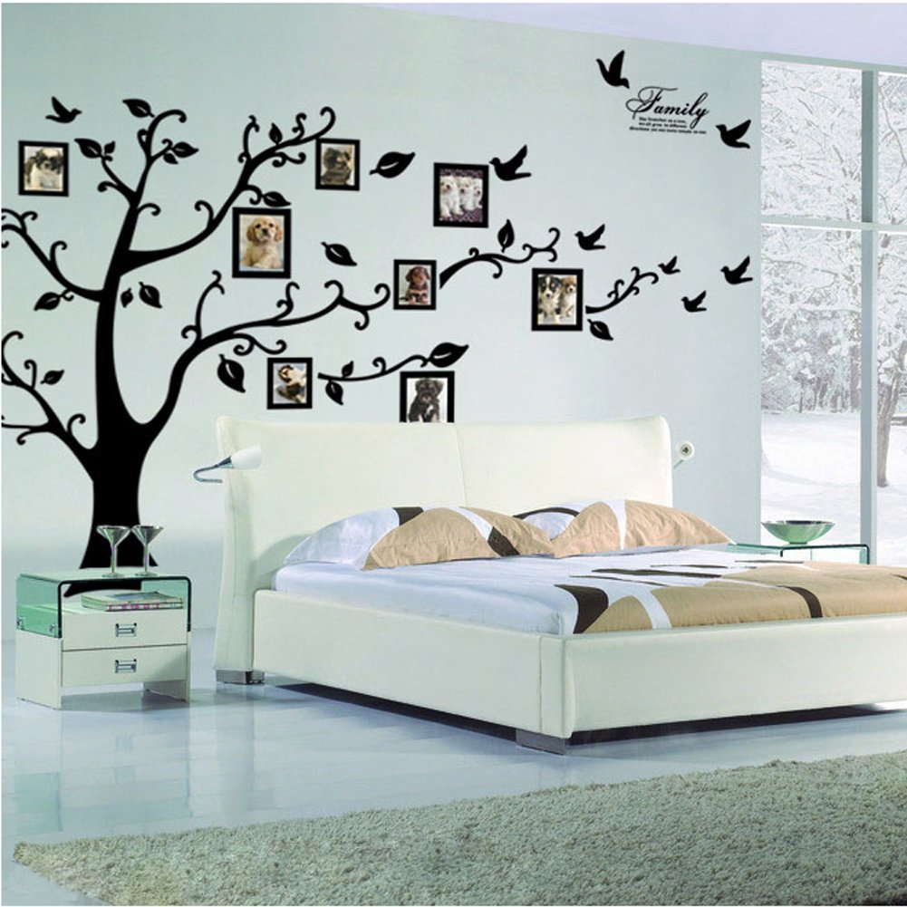 Amazon picture frame tree removable wall decor decal sticker amazon picture frame tree removable wall decor decal sticker black 1 home kitchen amipublicfo Choice Image